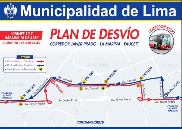 Plan desvio corredort Javier Prado