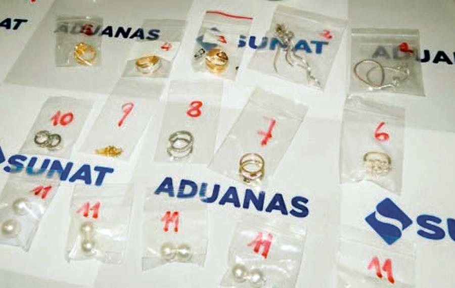 Sunat interviene lote de joyas provenientes de EE.UU.