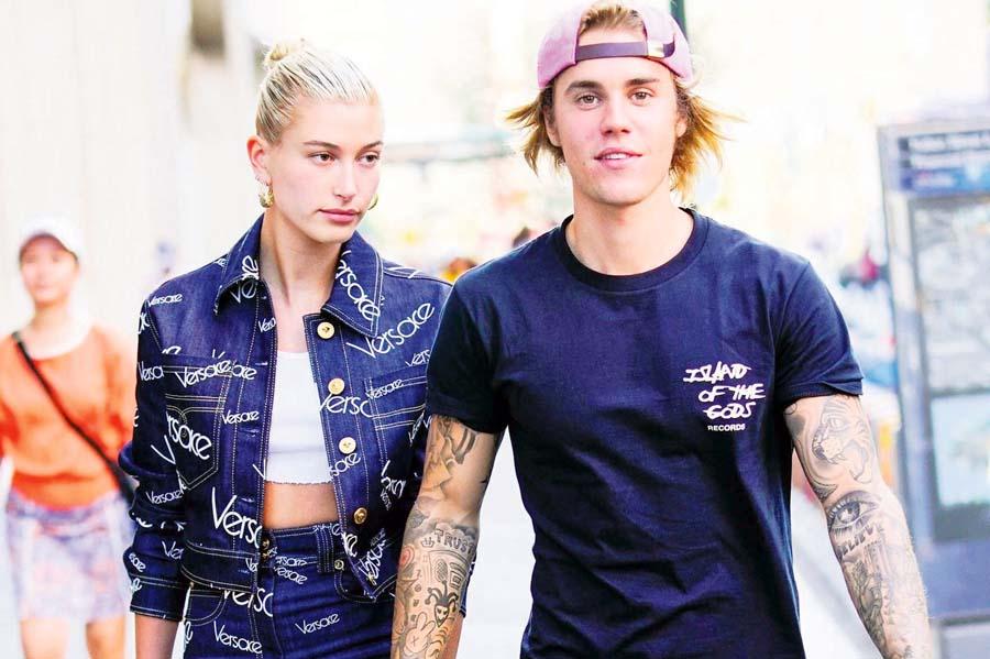 Justin Bieber con su novia Hailey Baldwin