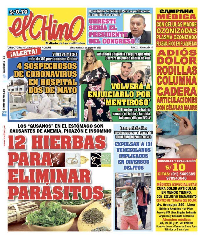 Portada impresa – Diario El Chino (28/01/2020)