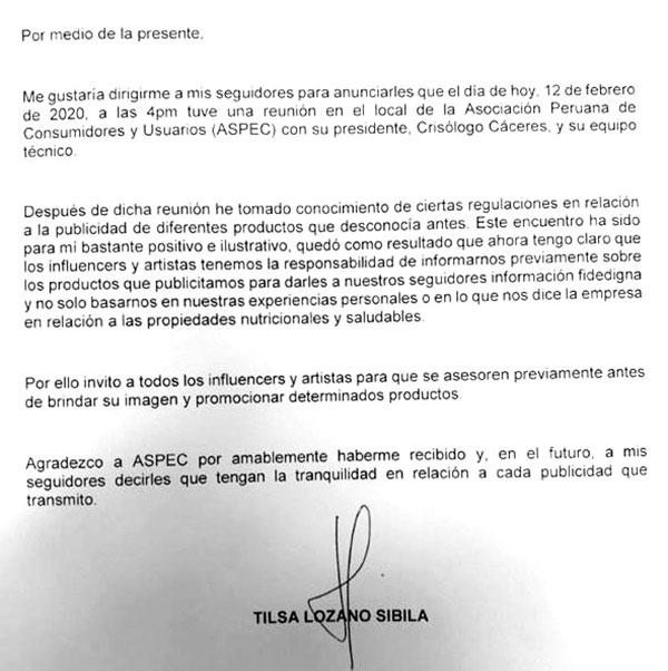 Carta Tilsa Lozano