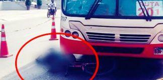 Bus del Corredor Rojo atropella y mata a ciclista