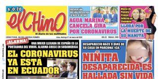 Portada impresa – Diario El Chino (01/03/2020)