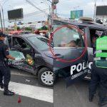Vehículos patrulleros se estrellaron en vía pública