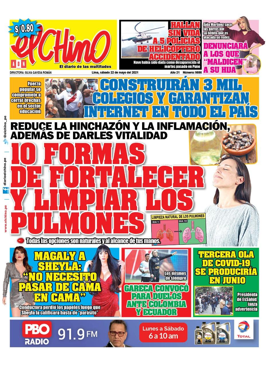 Portada impresa – Diario El Chino (22/05/2021)