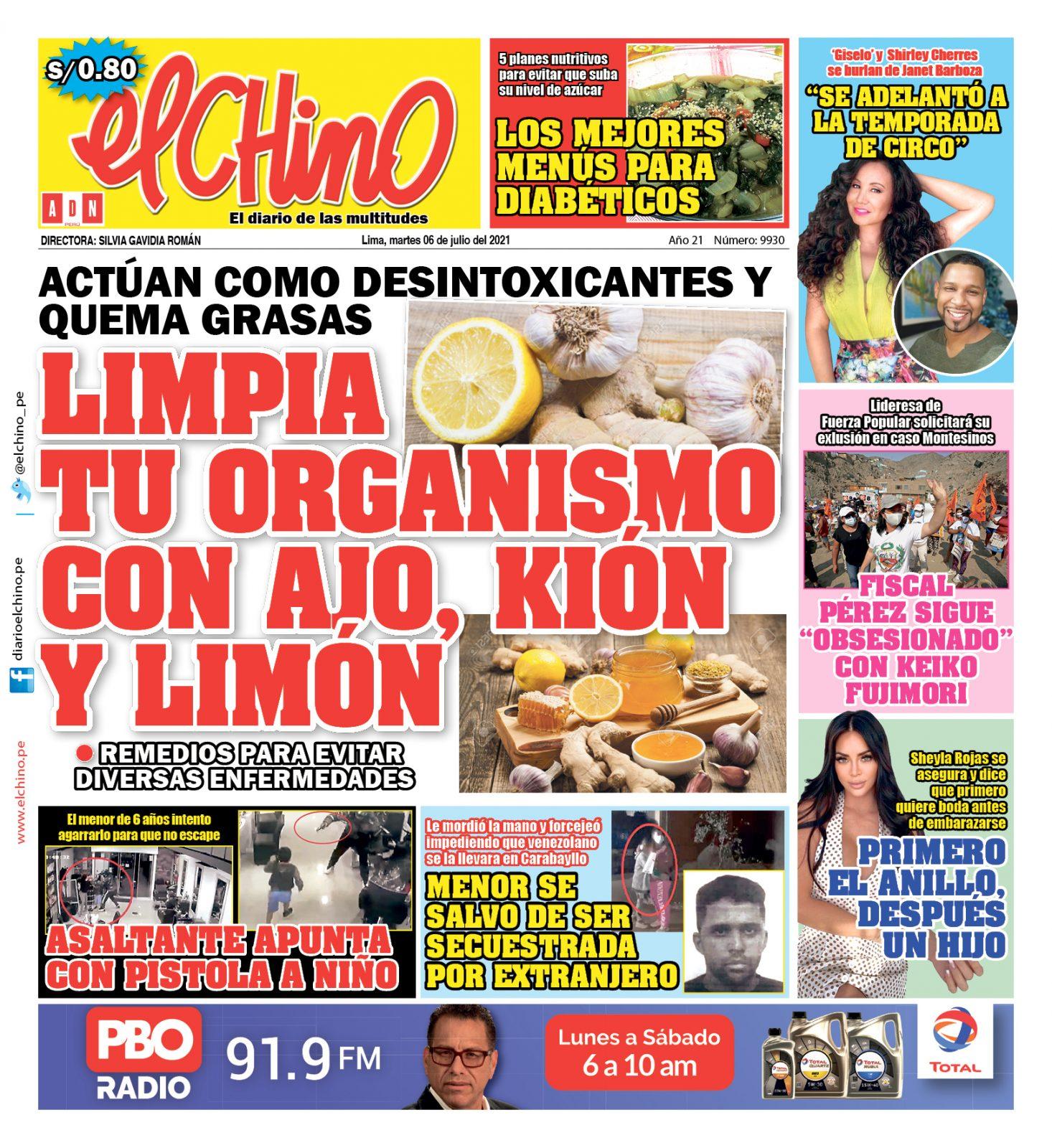Portada impresa – Diario El Chino (06/07/2021)