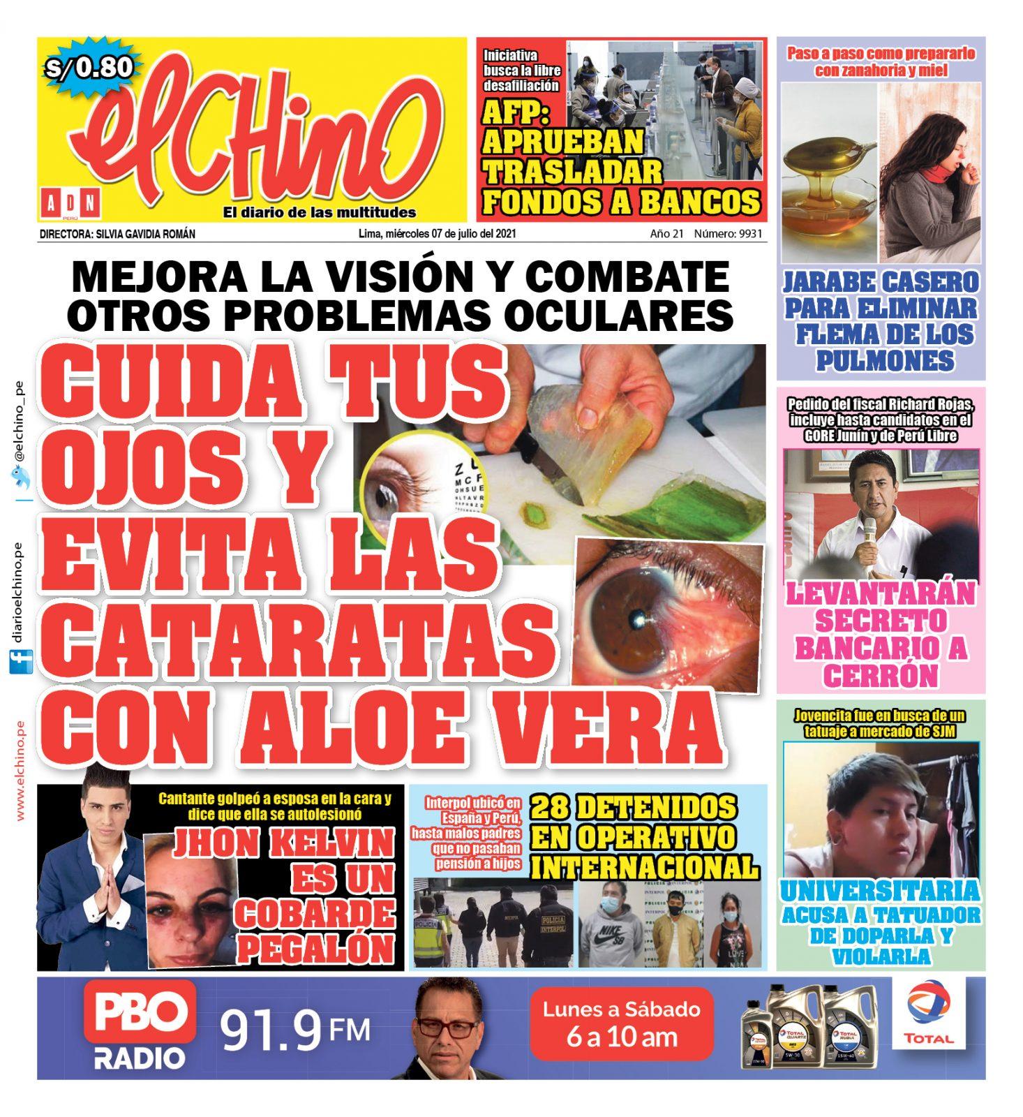 Portada impresa – Diario El Chino (07/07/2021)