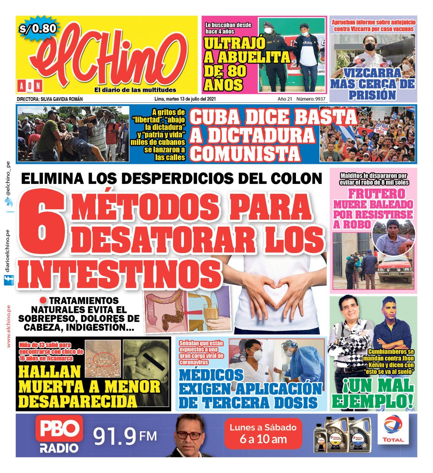 Portada impresa – Diario El Chino (13/07/2021)