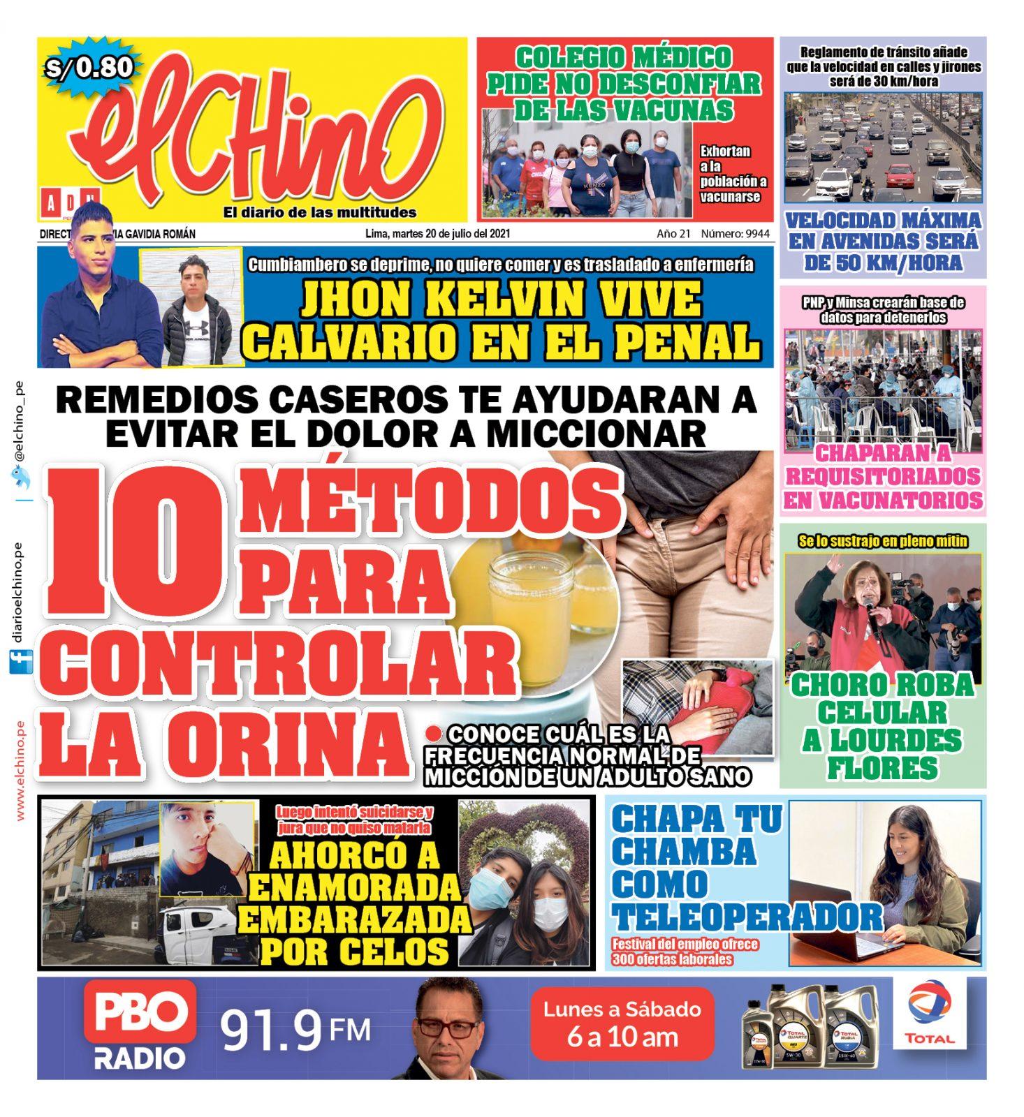 Portada impresa – Diario El Chino (20/07/2021)