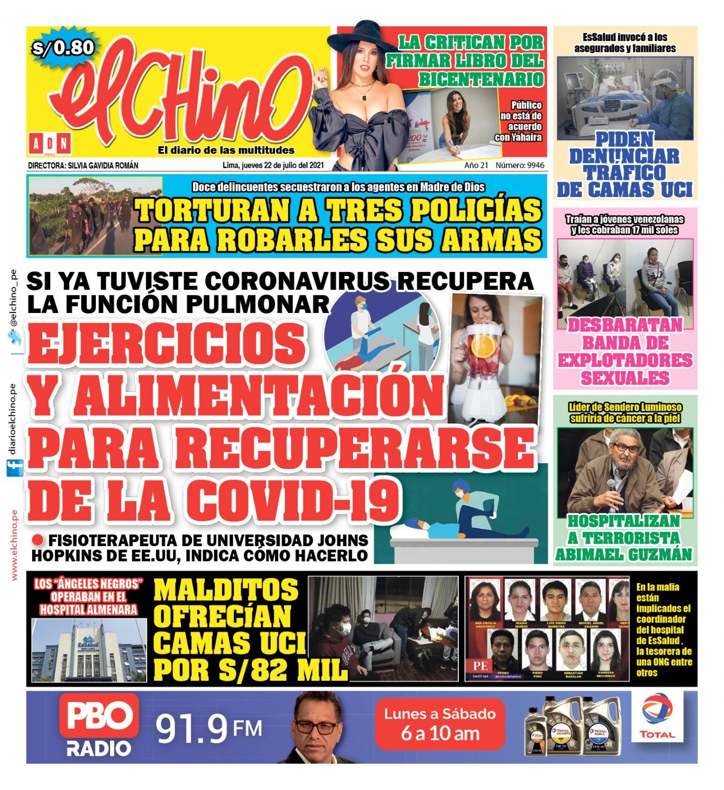 Portada impresa – Diario El Chino (22/07/2021)