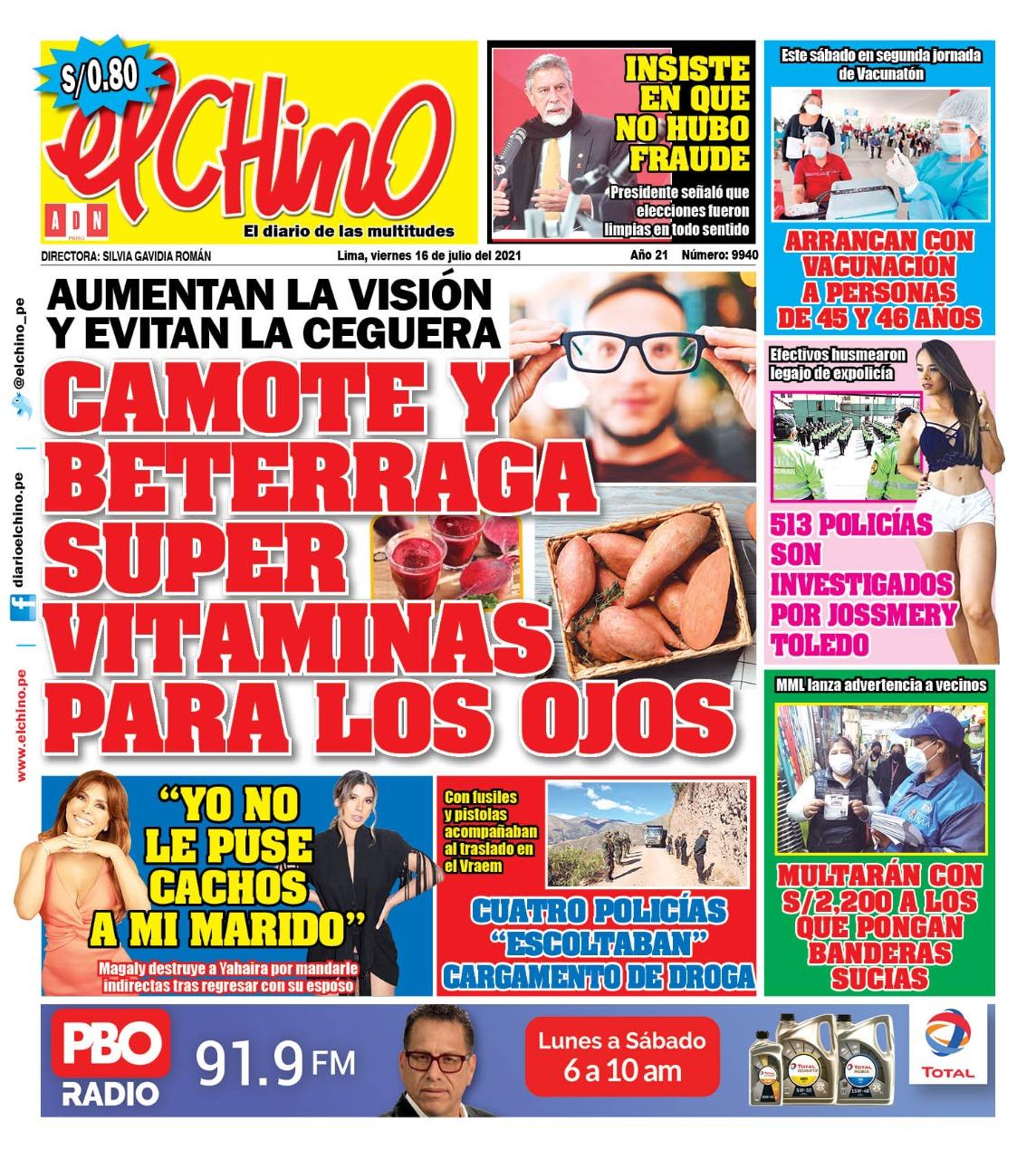 Portada impresa – Diario El Chino (16/07/2021)