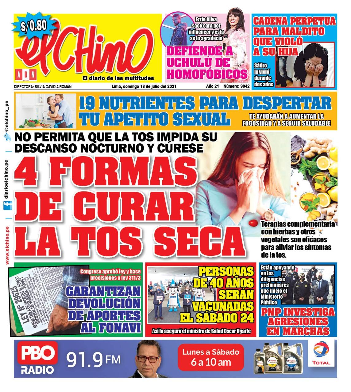 Portada impresa – Diario El Chino (18/07/2021)