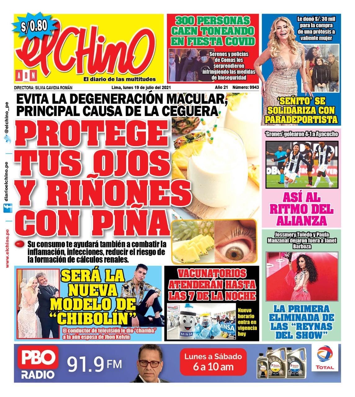Portada impresa – Diario El Chino (19/07/2021)
