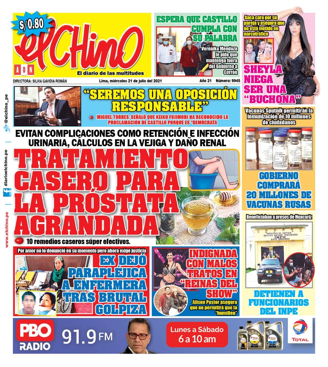 Portada impresa – Diario El Chino (21/07/2021)
