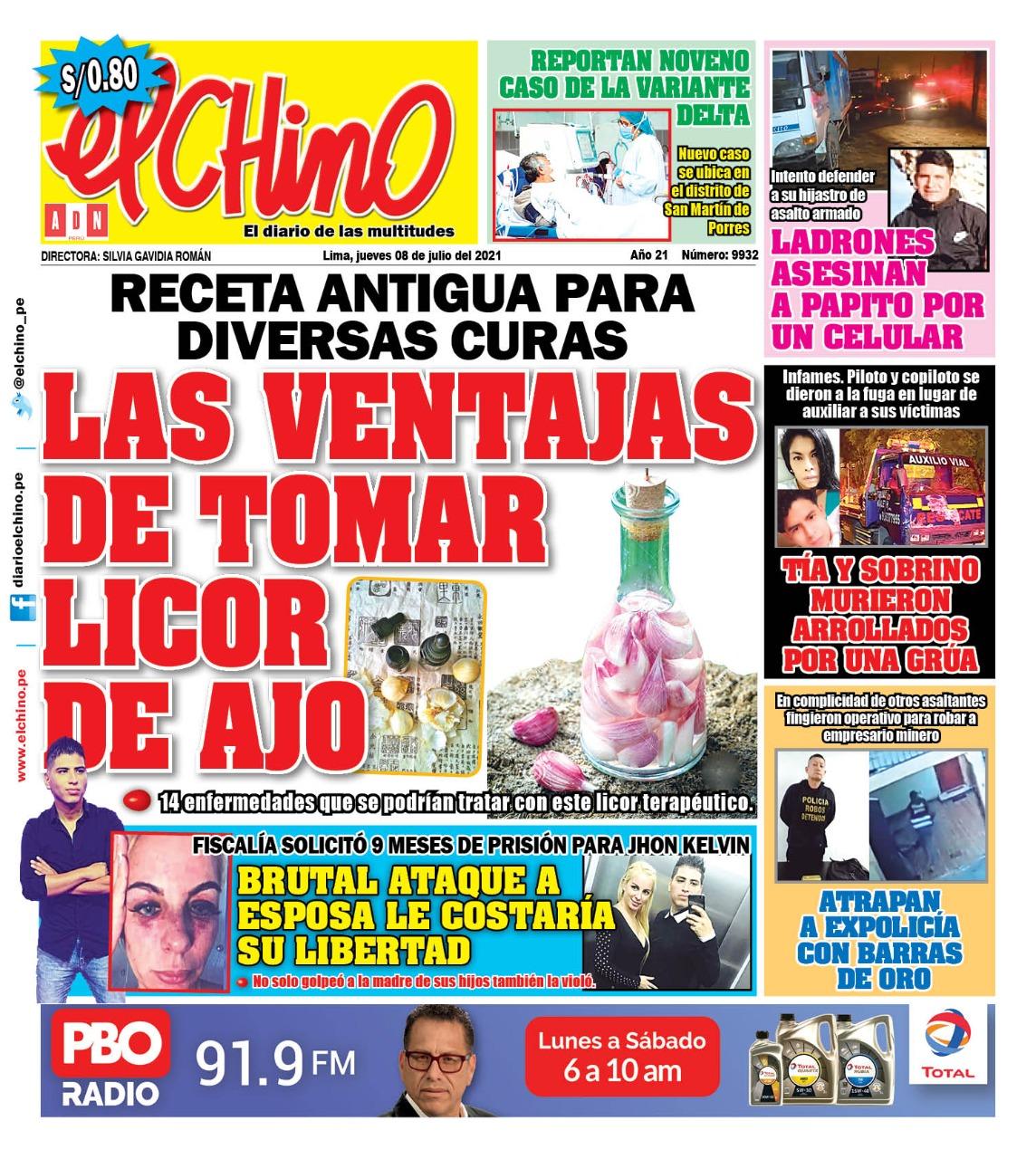 Portada impresa – Diario El Chino (08/07/2021)