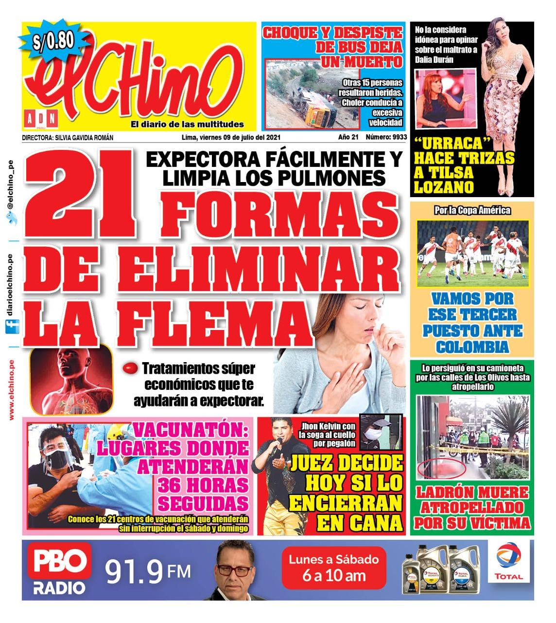Portada impresa – Diario El Chino (09/07/2021)