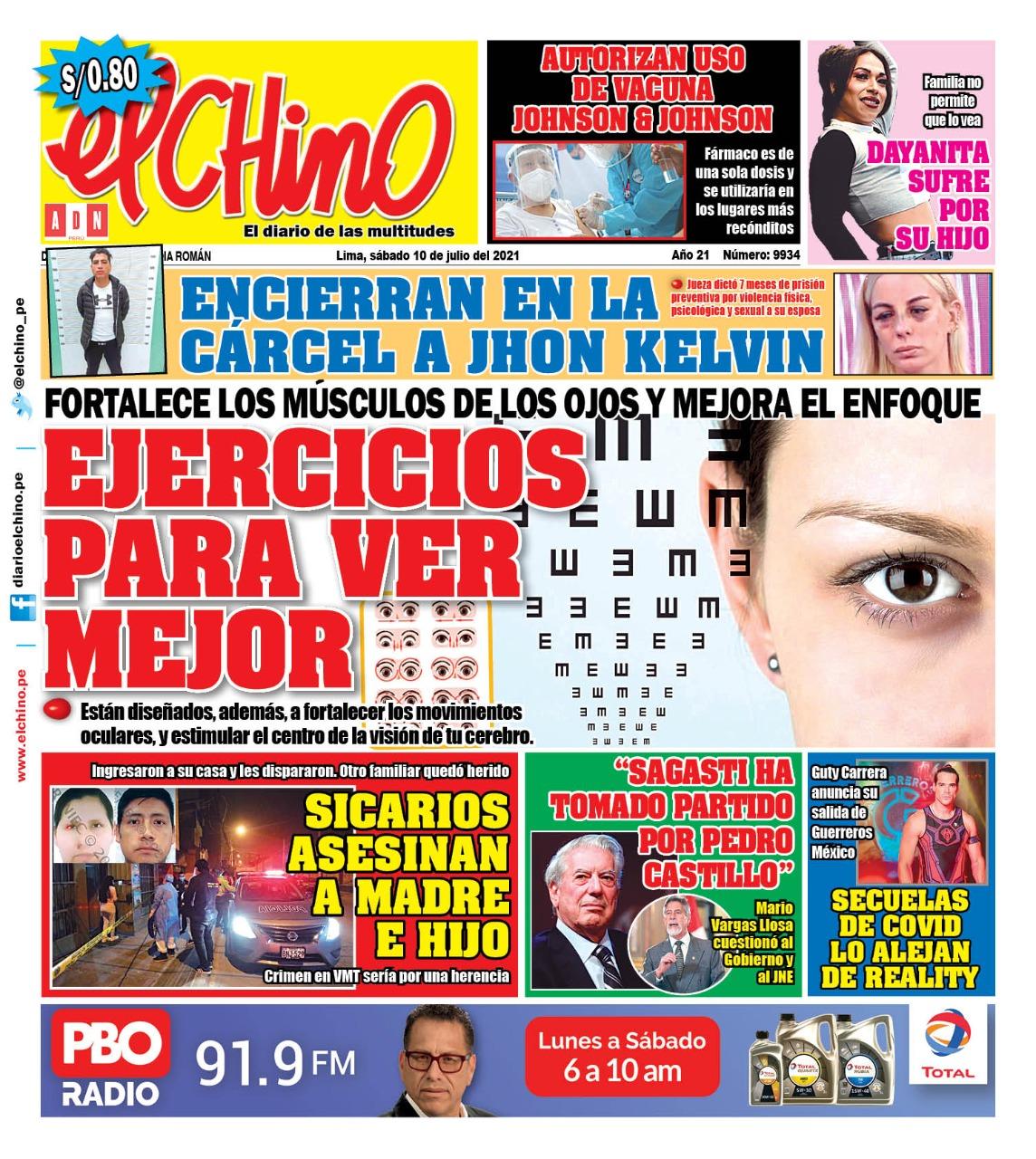 Portada impresa – Diario El Chino (10/07/2021)
