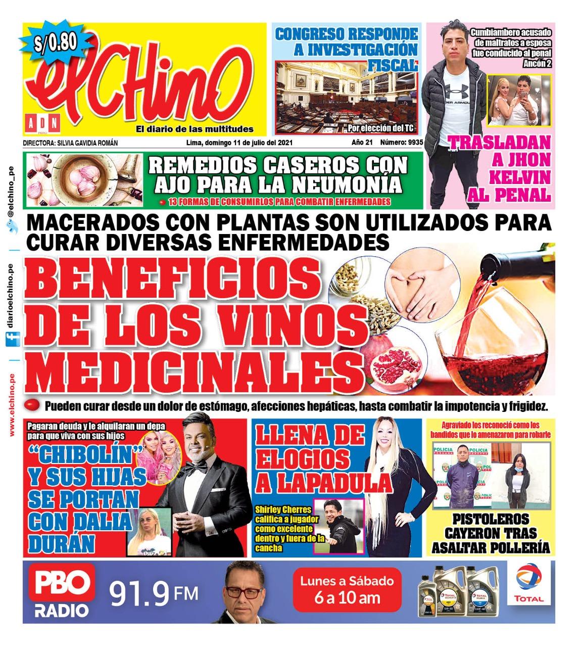Portada impresa – Diario El Chino (11/07/2021)