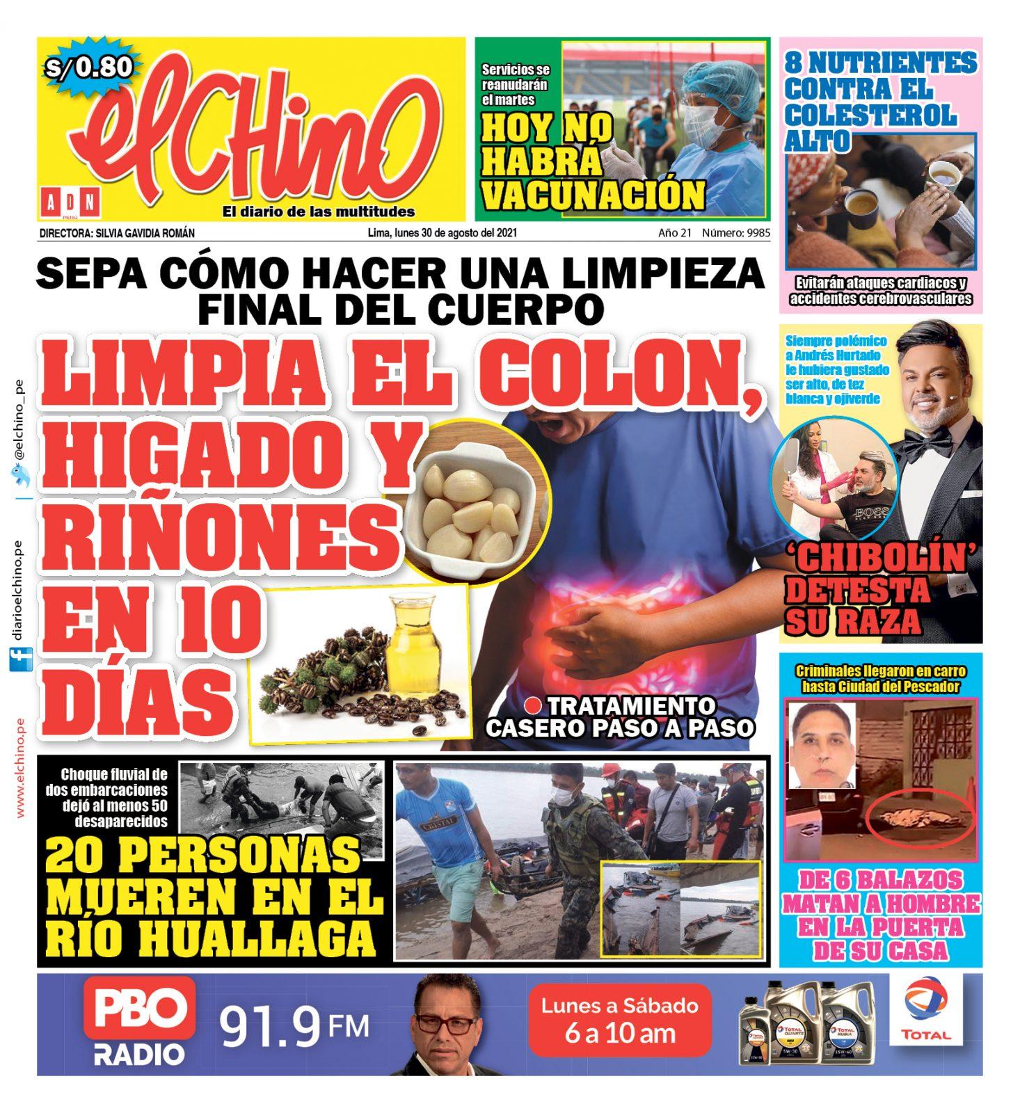 Portada impresa – Diario El Chino (30/08/2021)