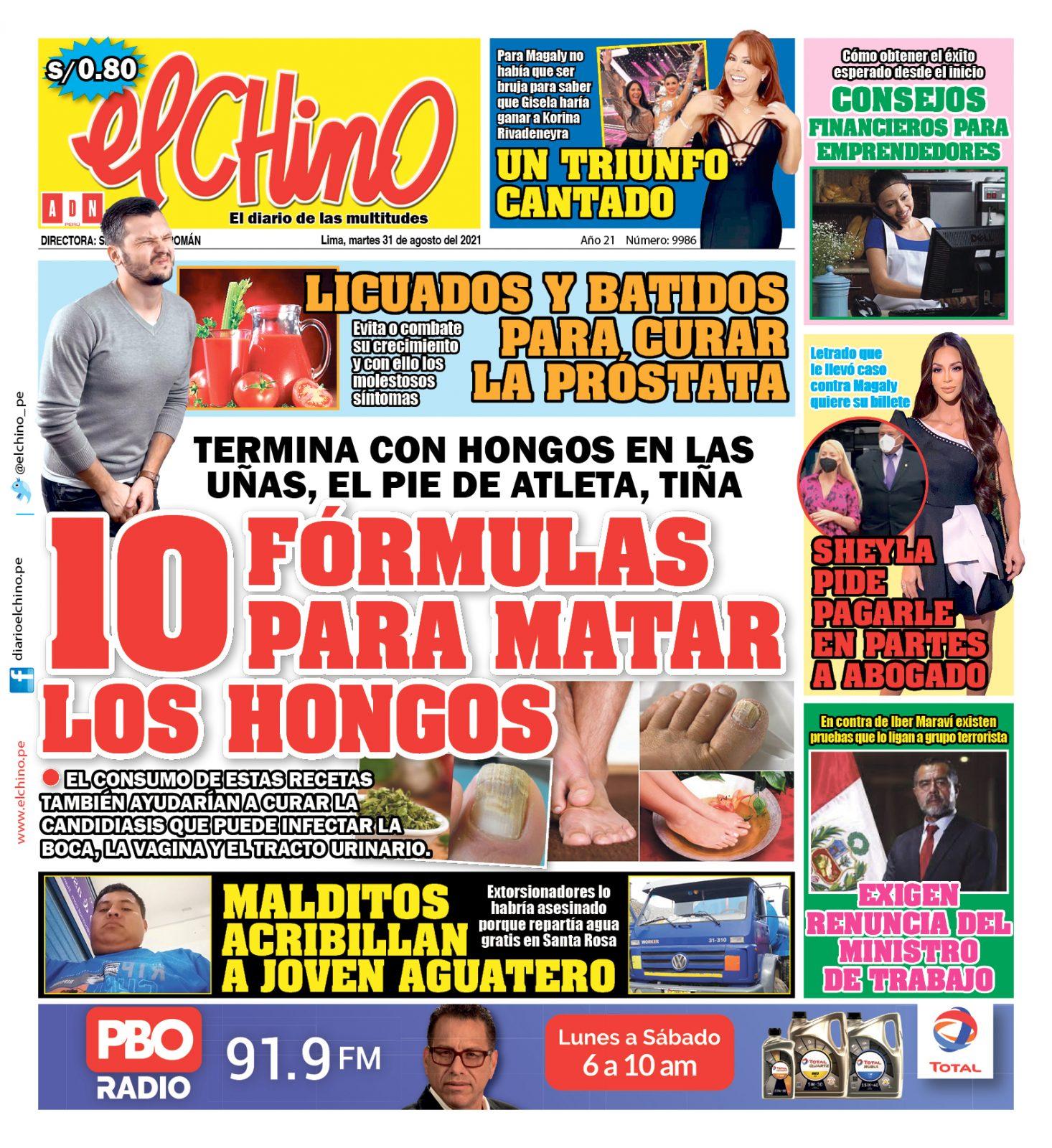 Portada impresa – Diario El Chino (31/08/2021)