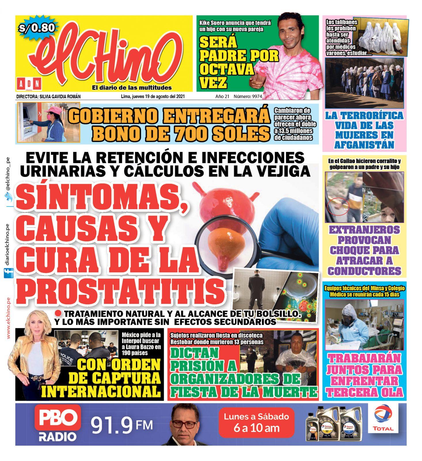 Portada impresa – Diario El Chino (19/08/2021)