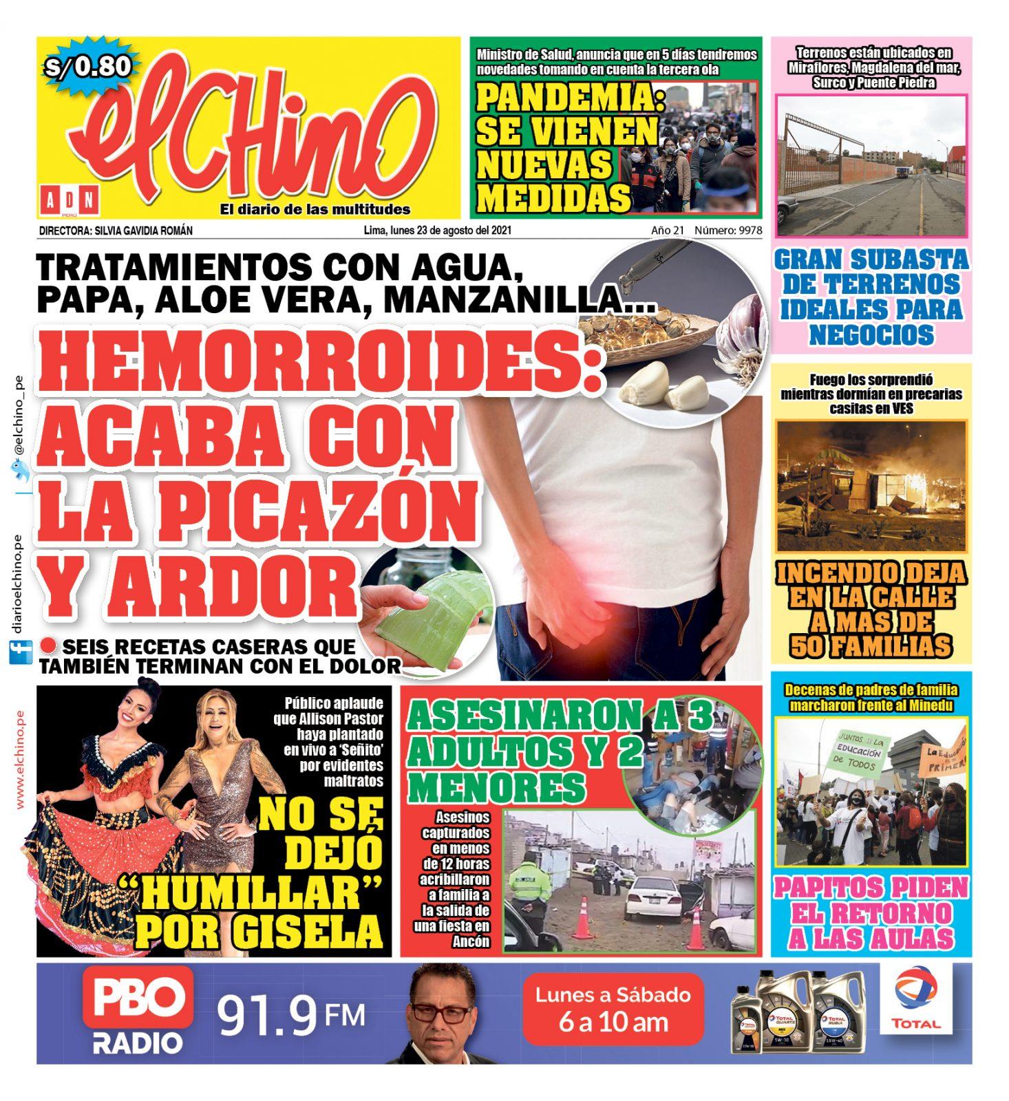 Portada impresa – Diario El Chino (23/08/2021)