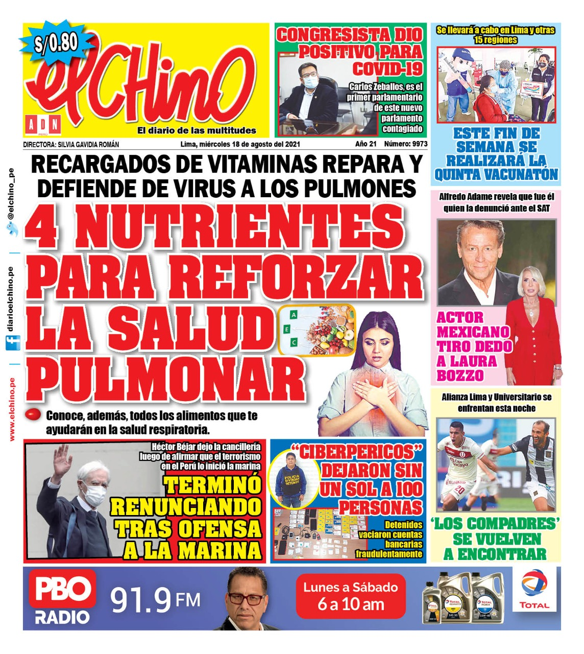 Portada impresa – Diario El Chino (18/08/2021)
