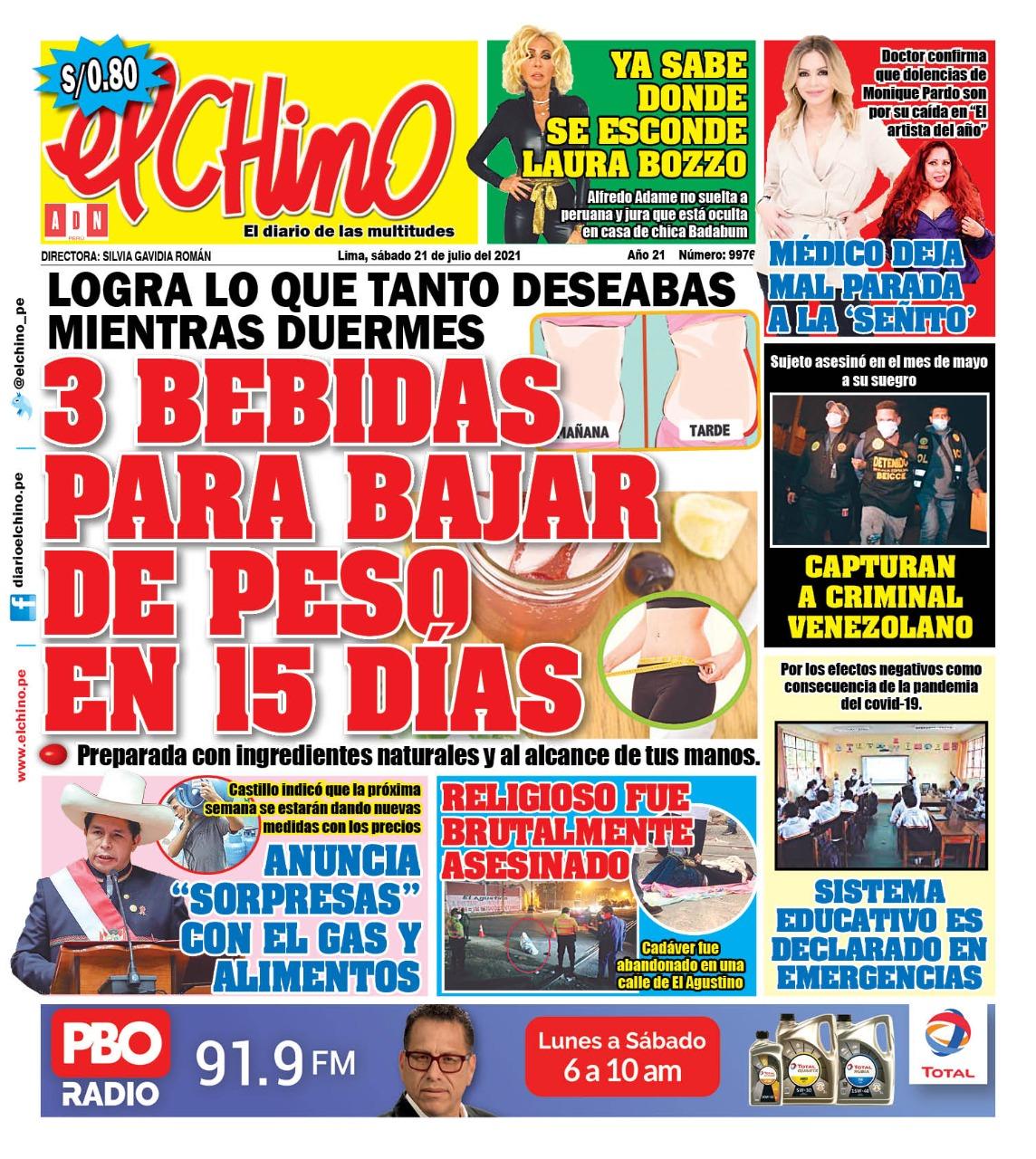 Portada impresa – Diario El Chino (21/08/2021)