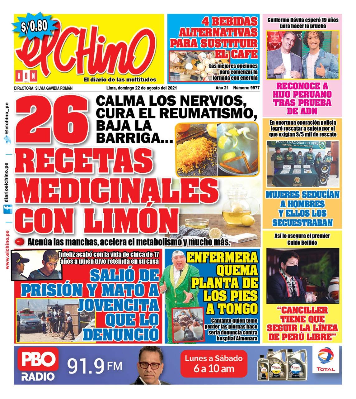 Portada impresa – Diario El Chino (22/08/2021)