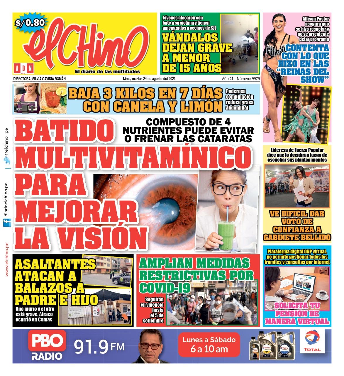 Portada impresa – Diario El Chino (24/08/2021)