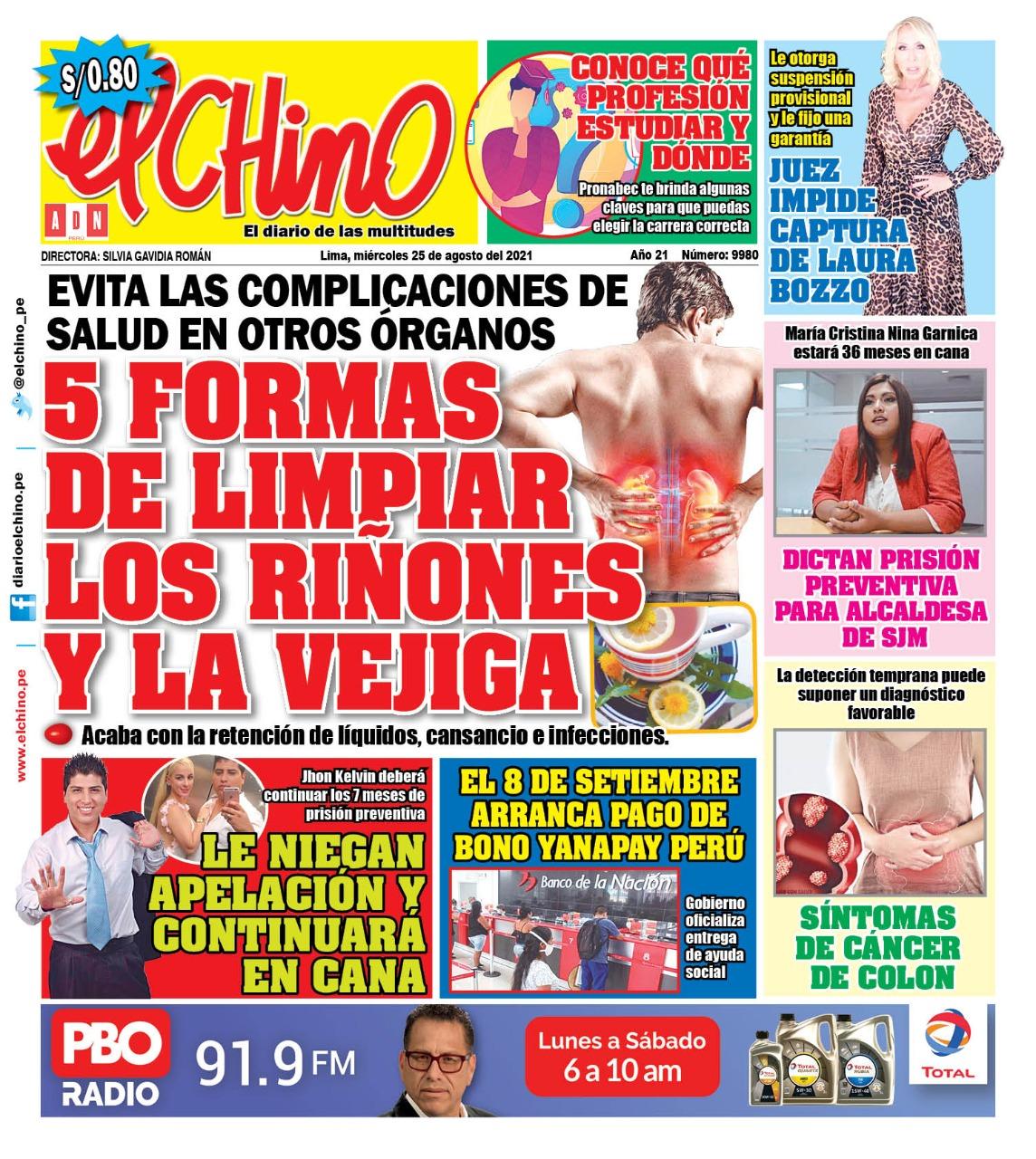 Portada impresa – Diario El Chino (25/08/2021)