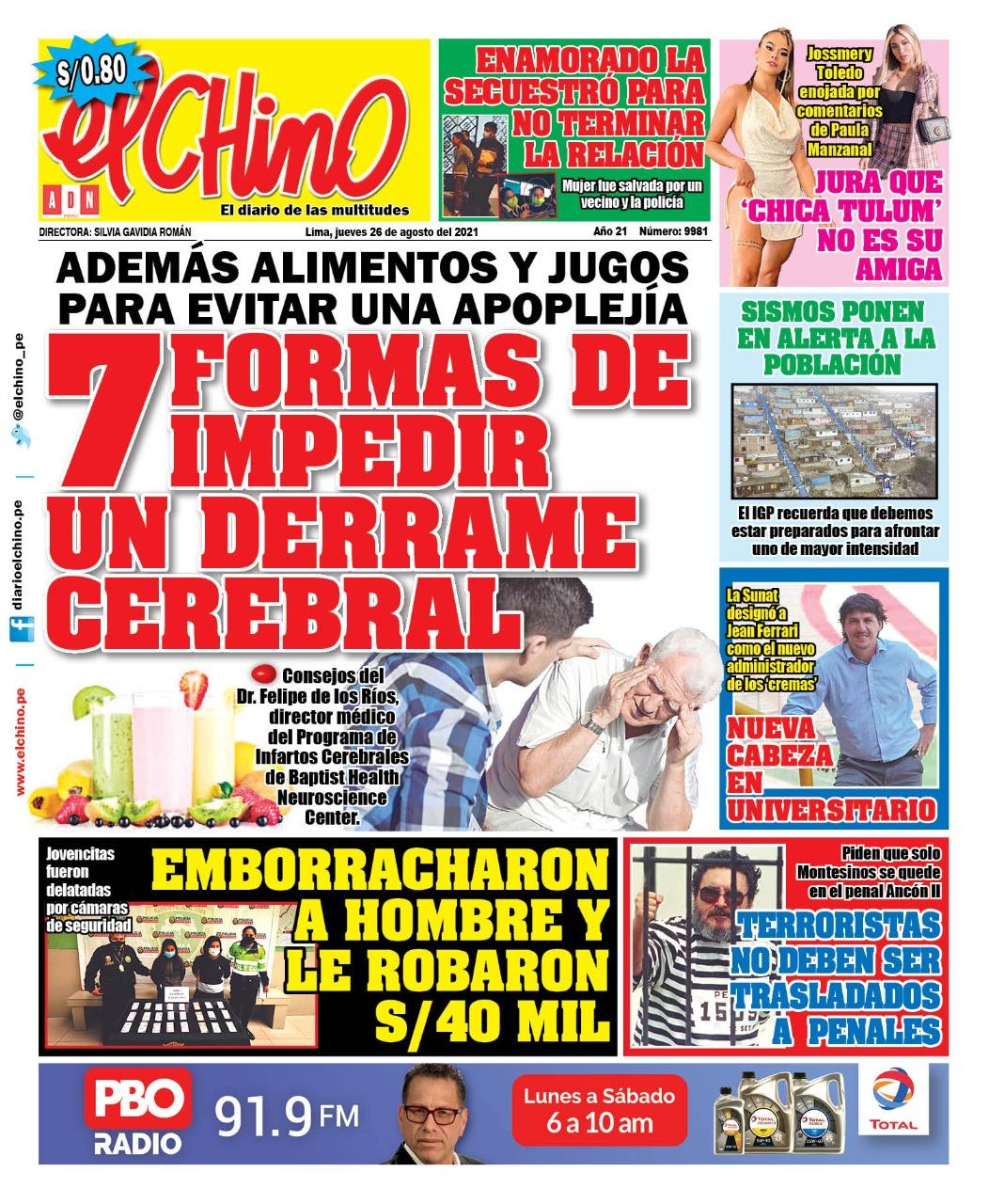 Portada impresa – Diario El Chino (26/08/2021)