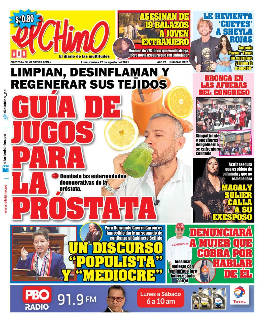 Portada impresa – Diario El Chino (27/08/2021)