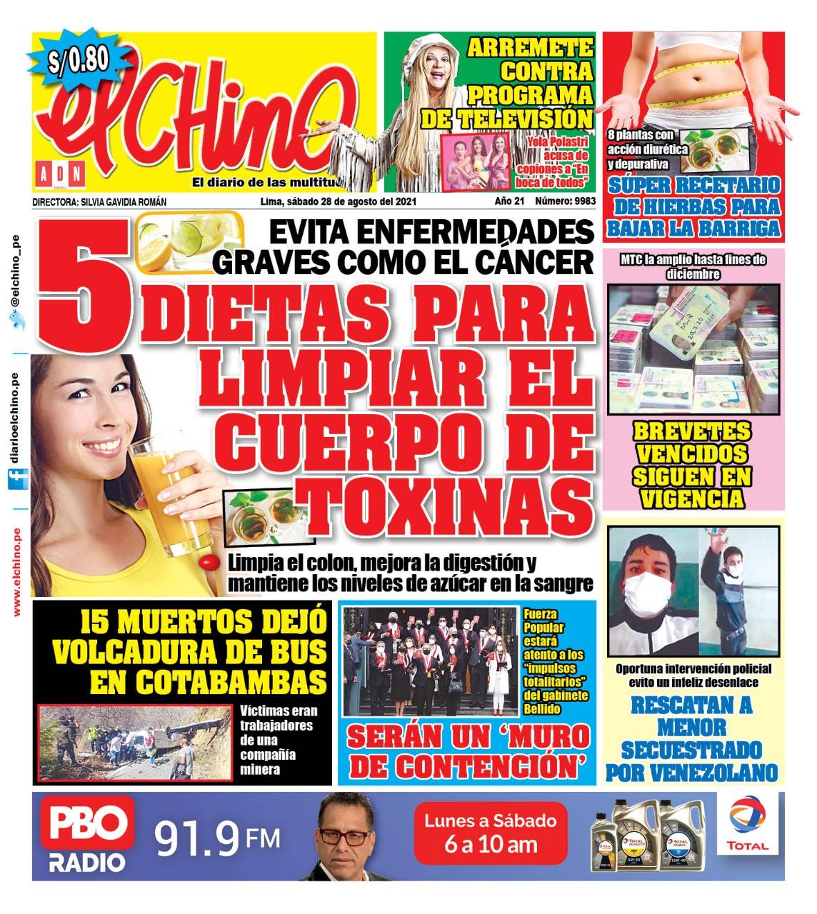 Portada impresa – Diario El Chino (28/08/2021)