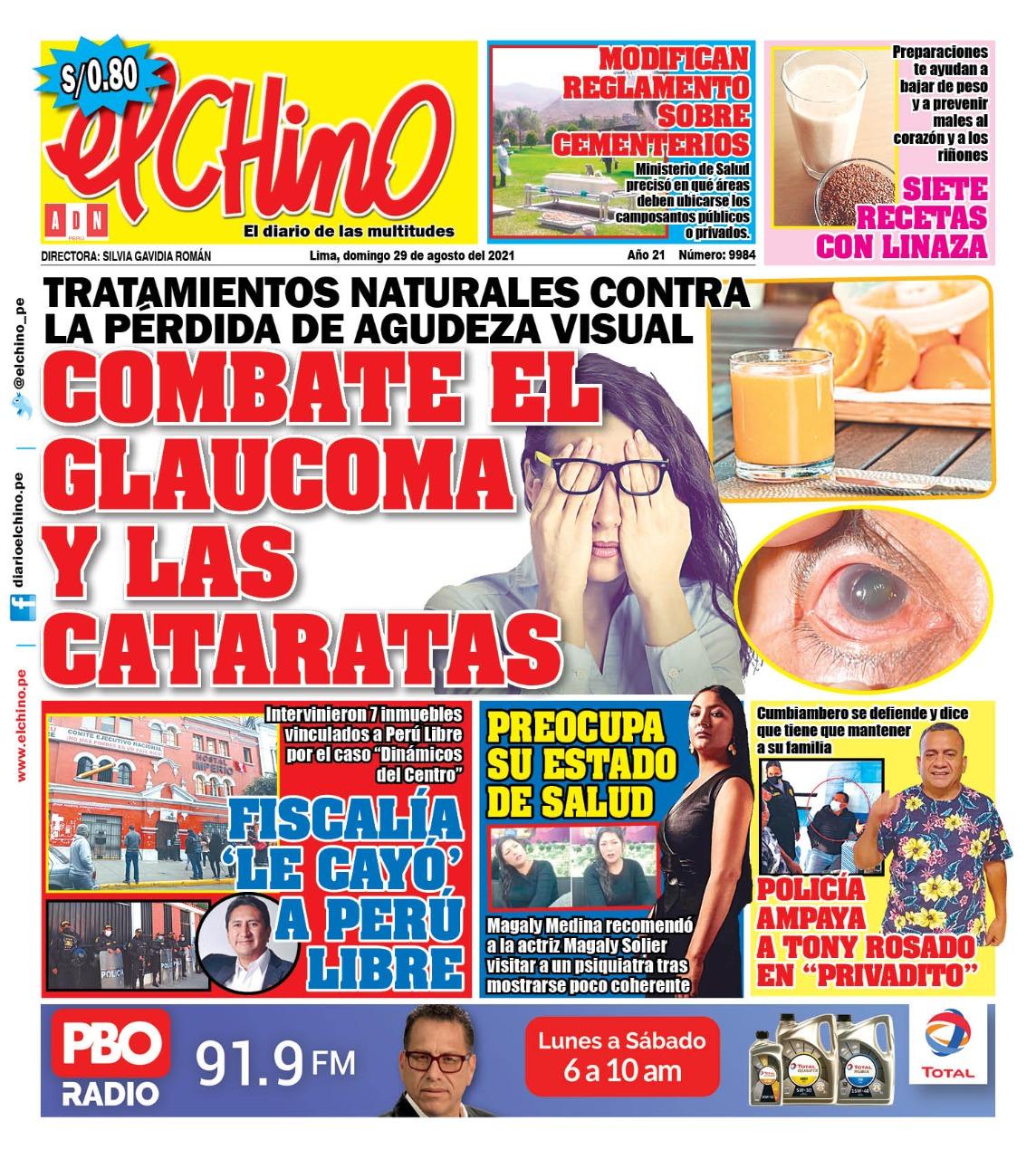Portada impresa – Diario El Chino (29/08/2021)