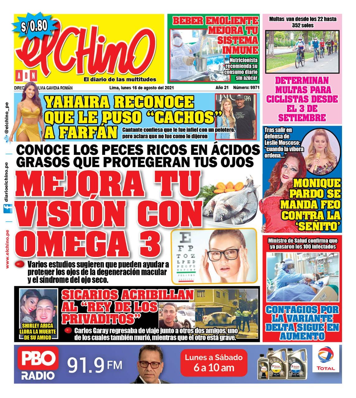 Portada impresa – Diario El Chino (16/08/2021)