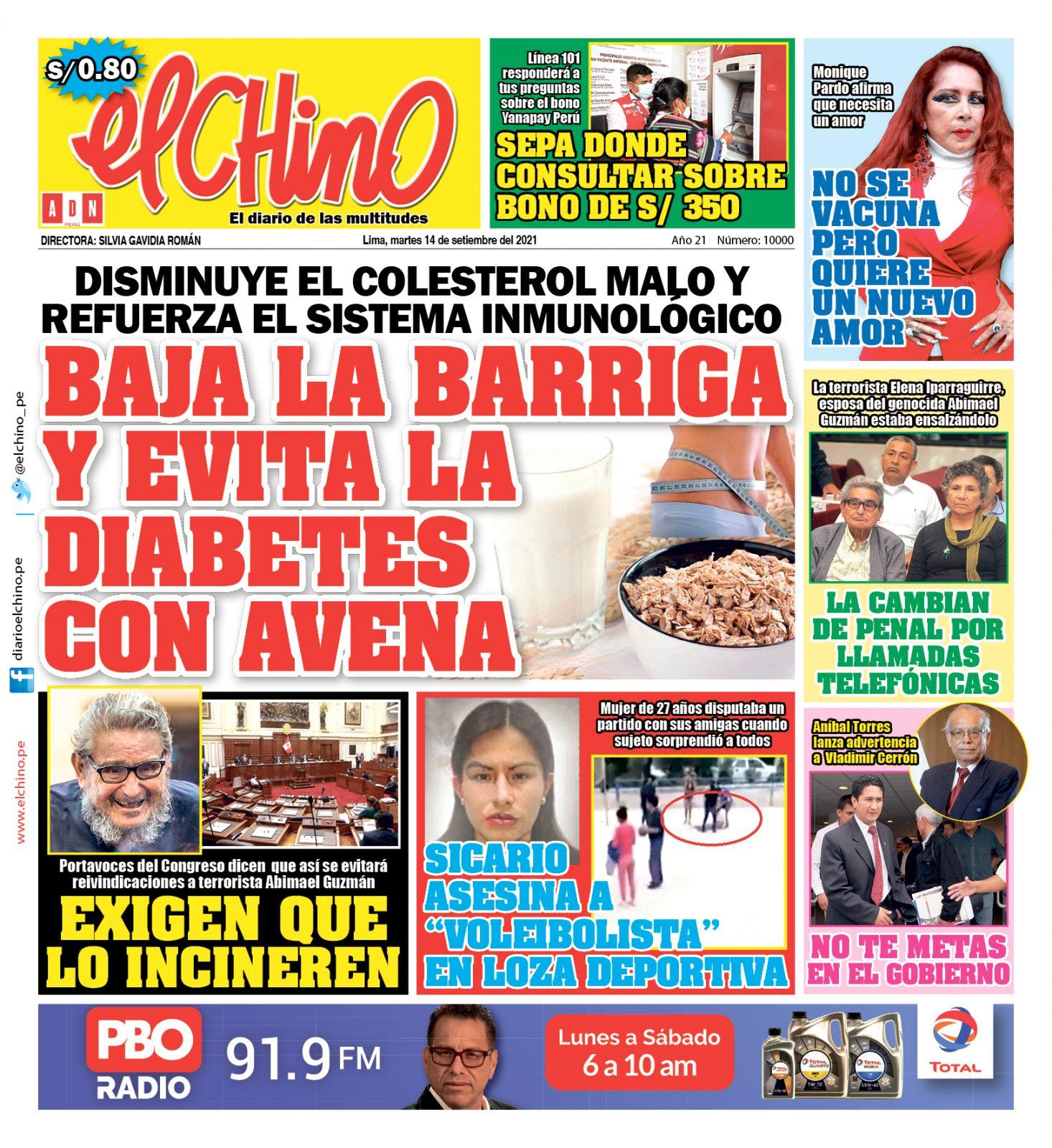 Portada impresa – Diario El Chino (14/09/2021)