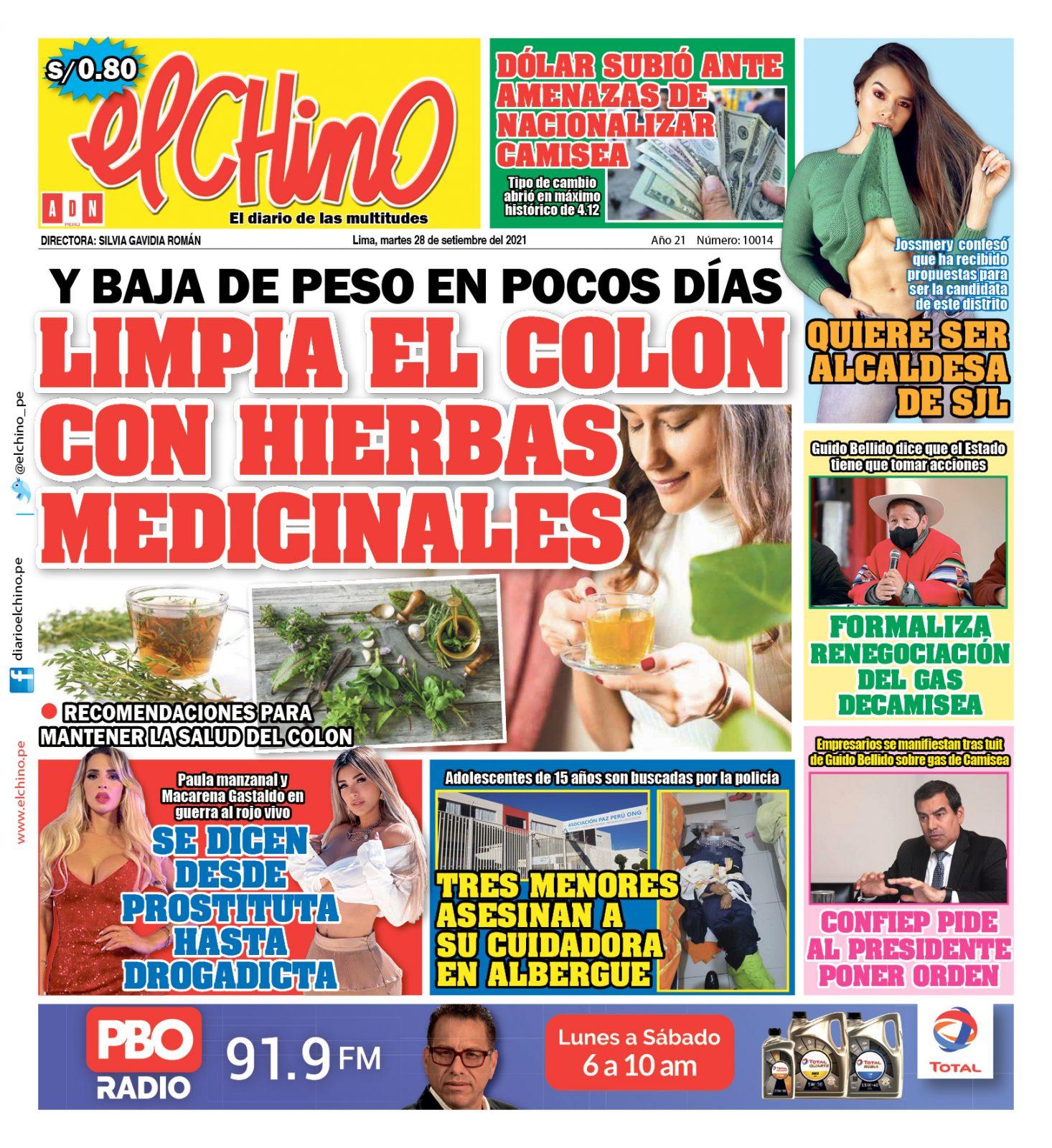 Portada impresa – Diario El Chino (28/09/2021)
