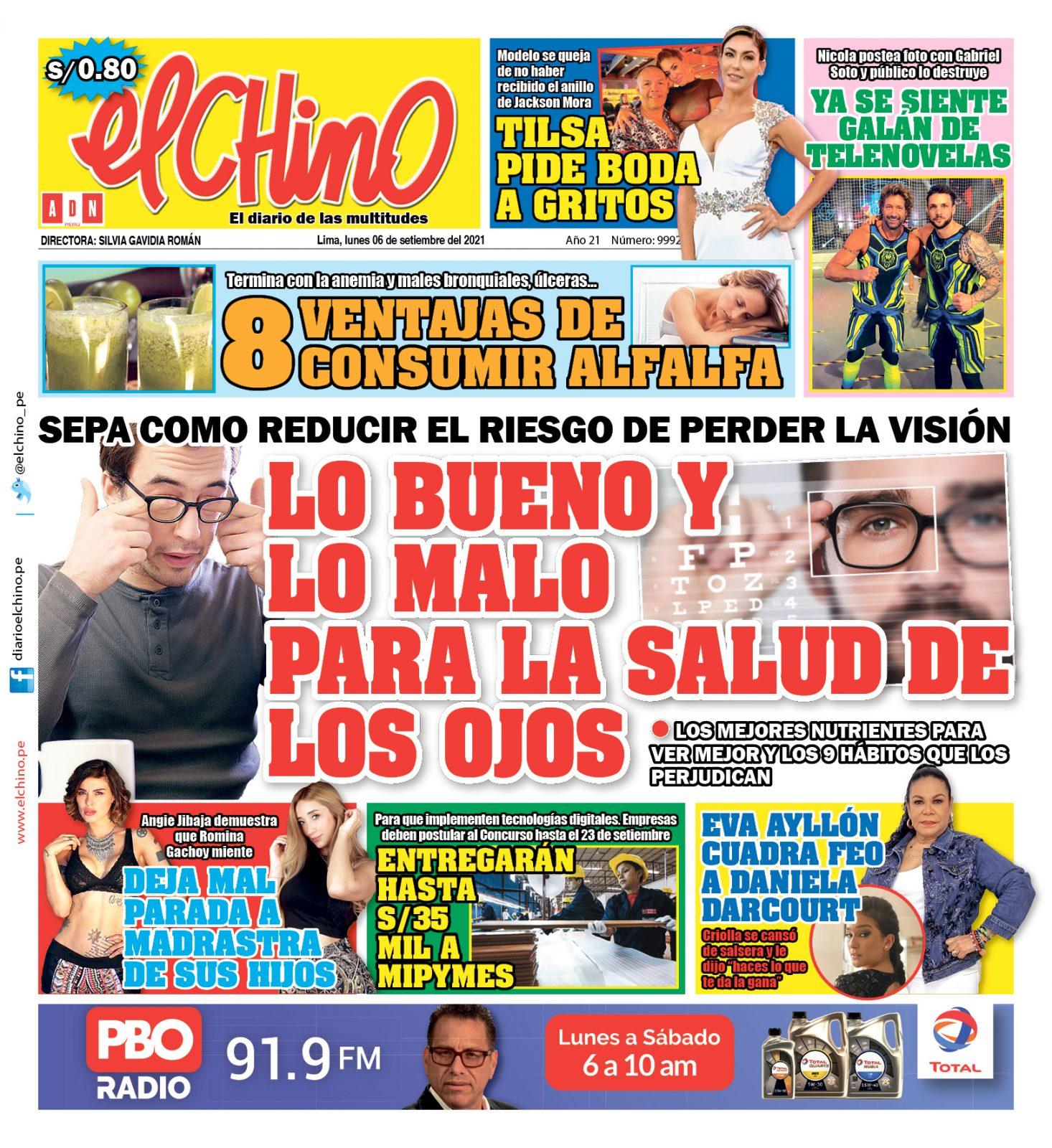 Portada impresa – Diario El Chino (06/09/2021)