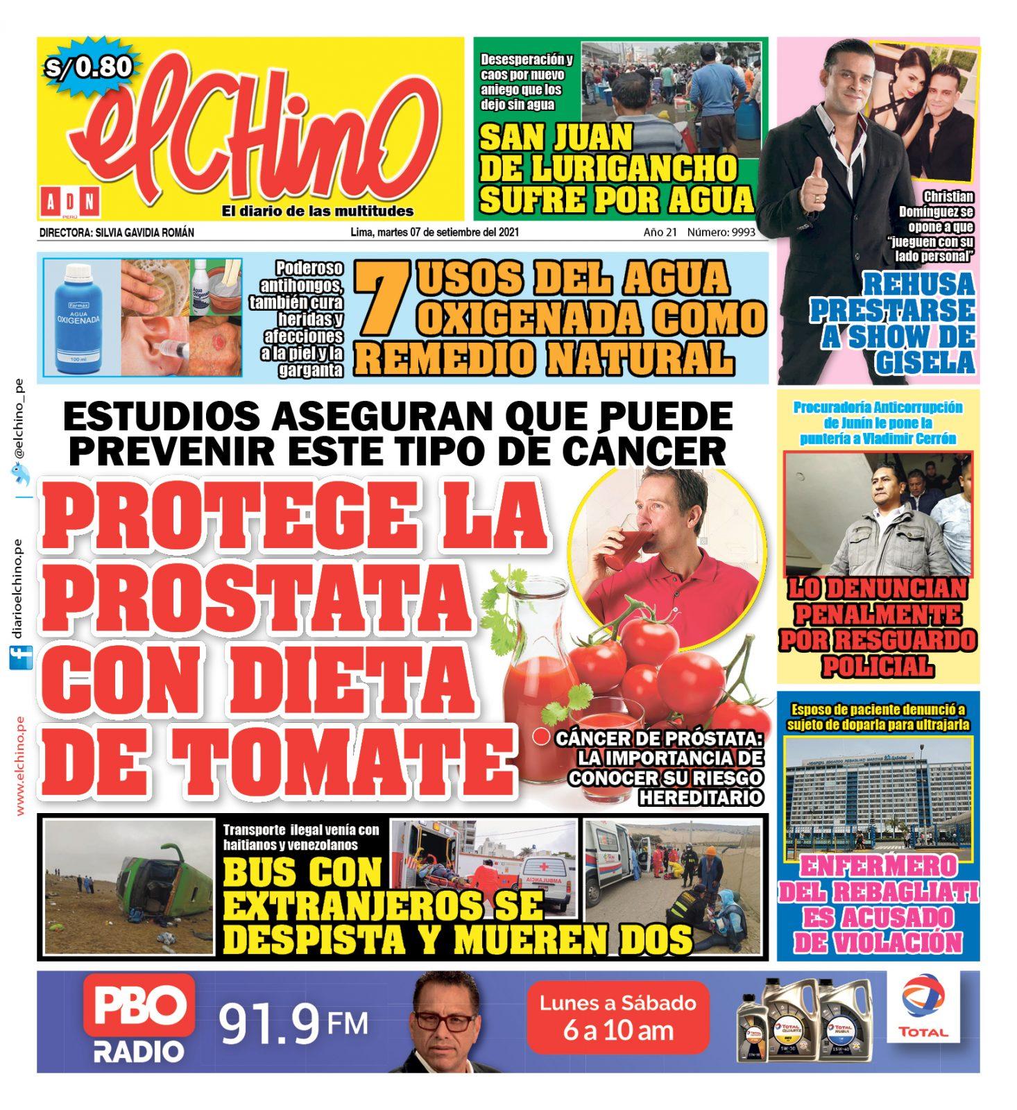 Portada impresa – Diario El Chino (07/09/2021)