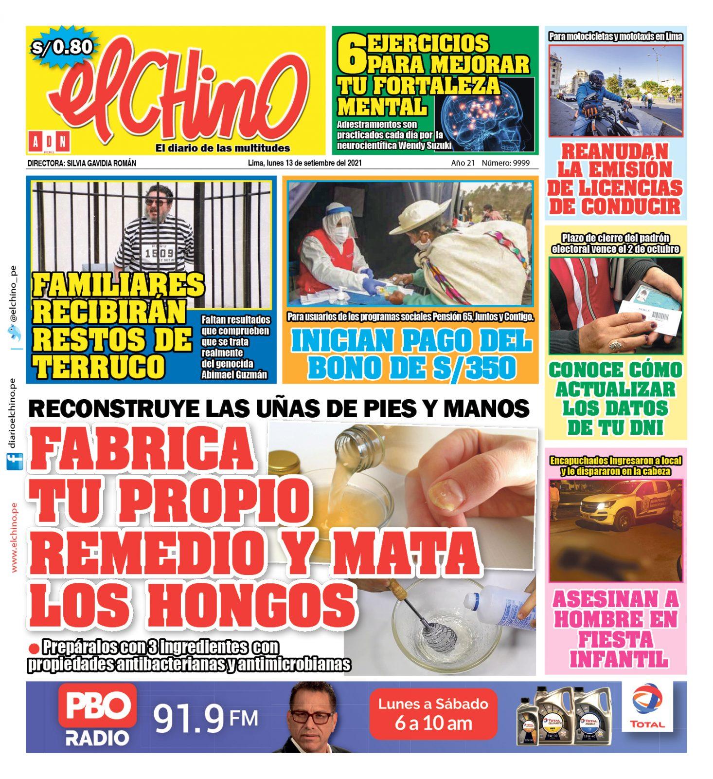 Portada impresa – Diario El Chino (13/09/2021)