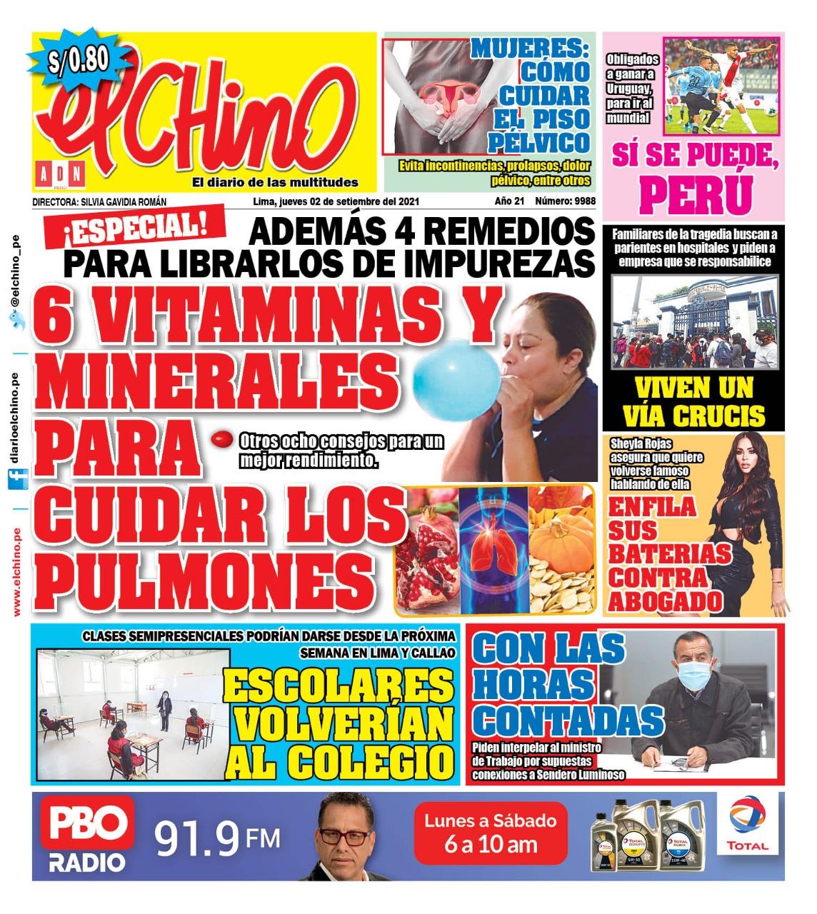 Portada impresa – Diario El Chino (02/09/2021)