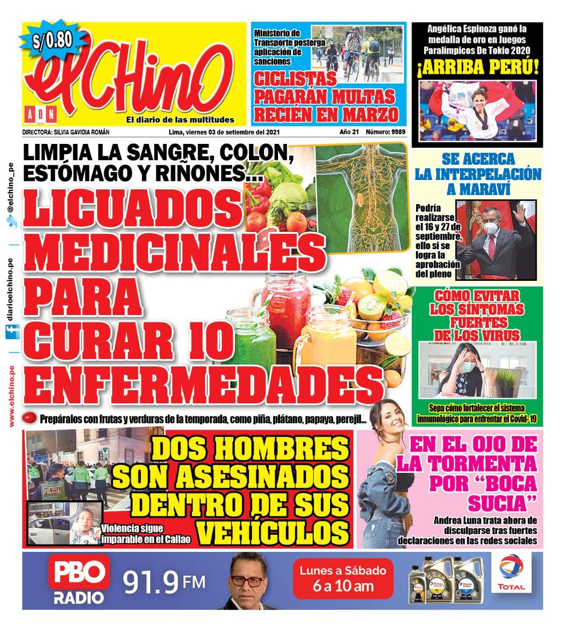 Portada impresa – Diario El Chino (03/09/2021)