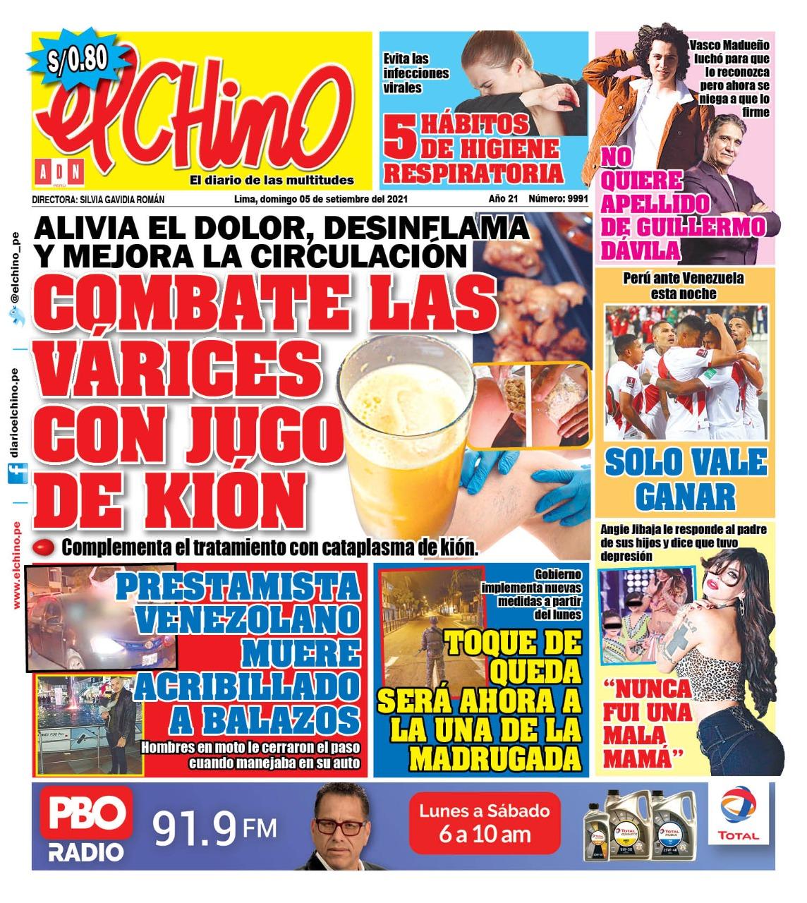 Portada impresa – Diario El Chino (05/09/2021)