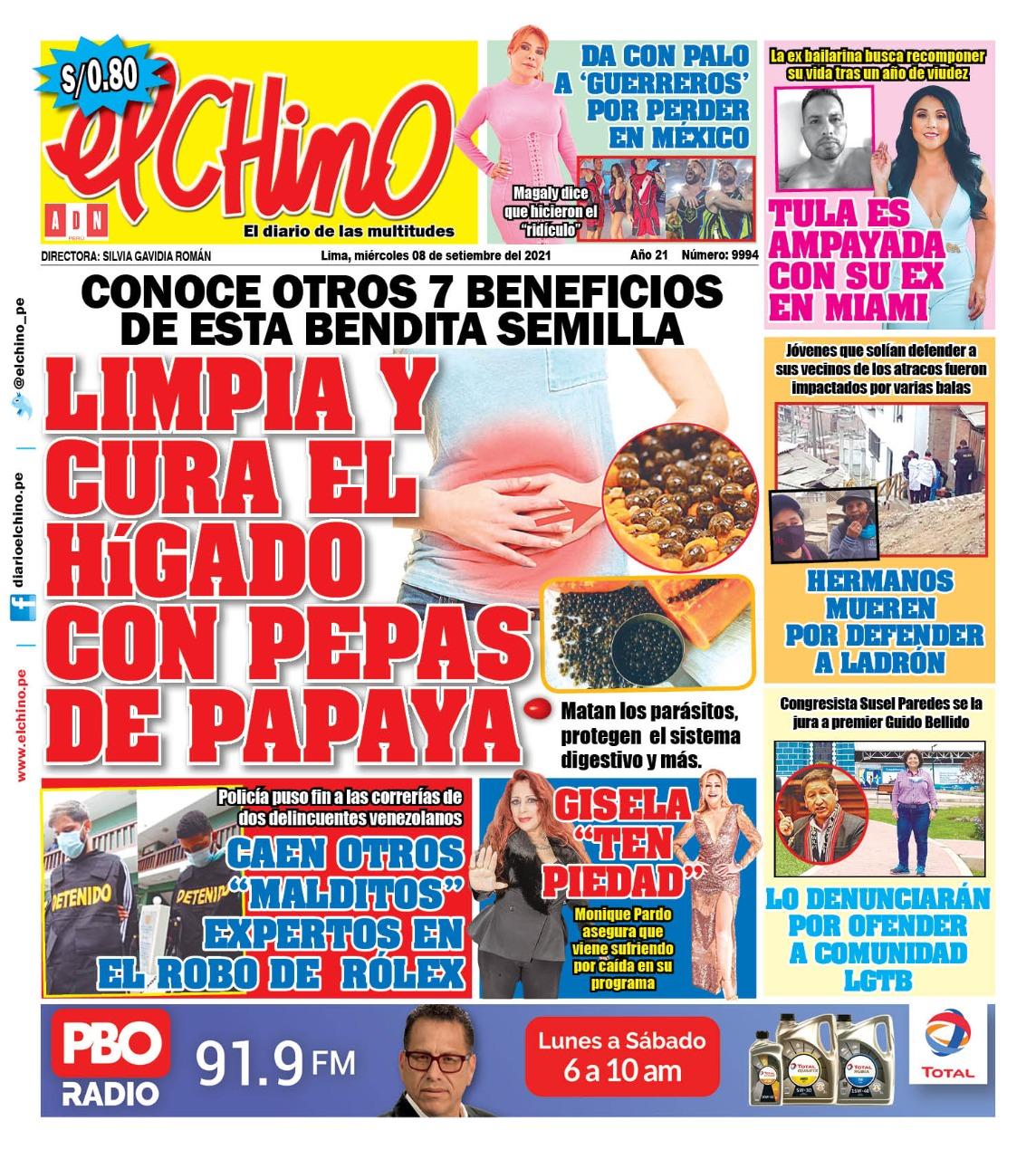Portada impresa – Diario El Chino (08/09/2021)