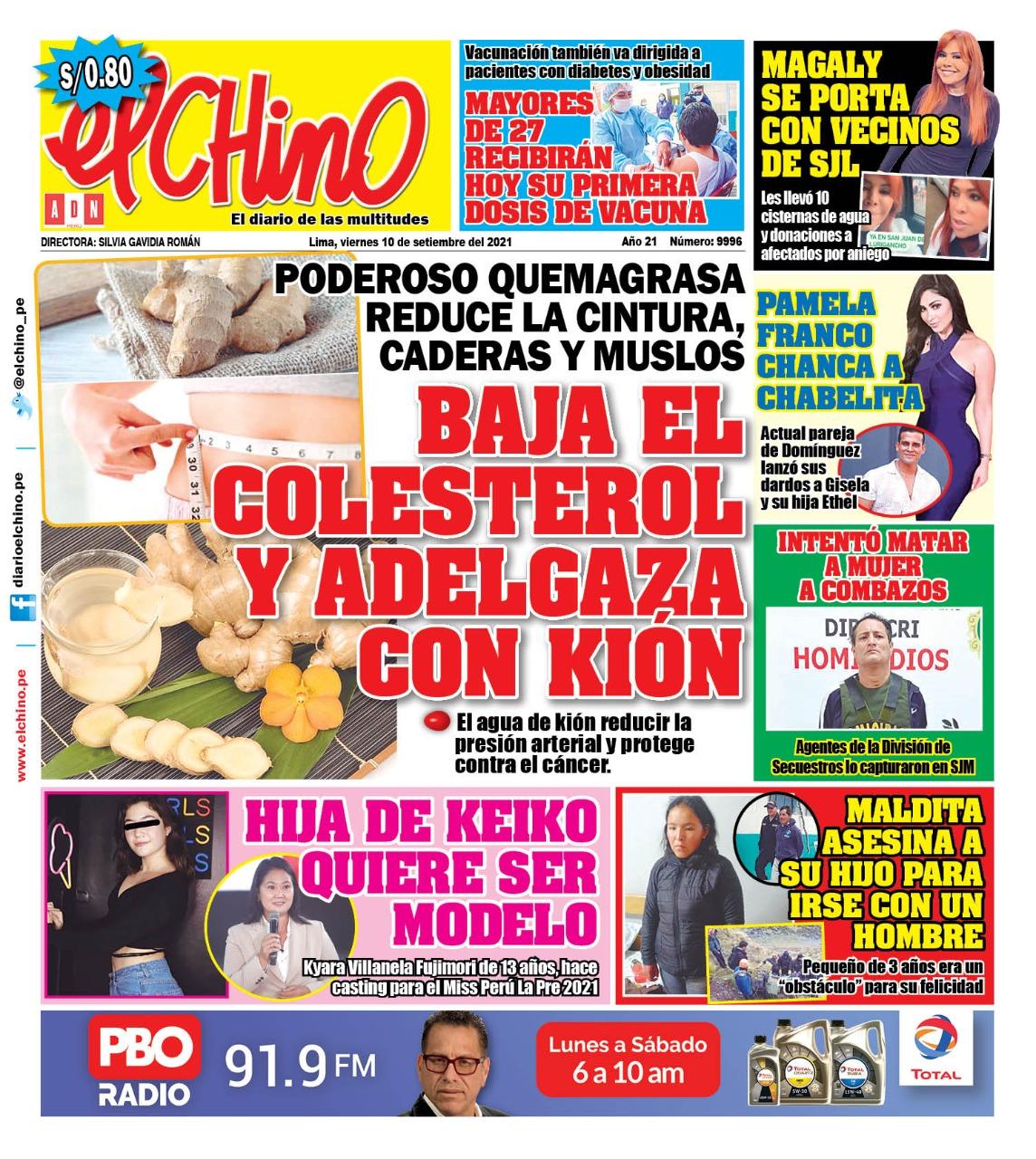 Portada impresa – Diario El Chino (10/09/2021)