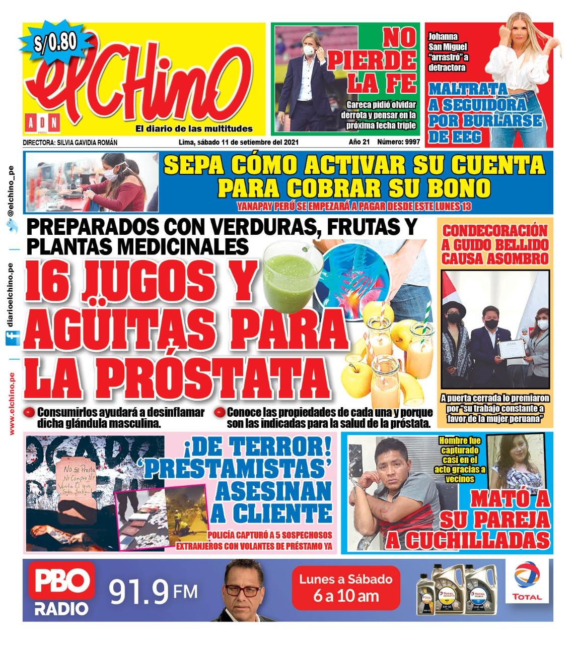 Portada impresa – Diario El Chino (11/09/2021)