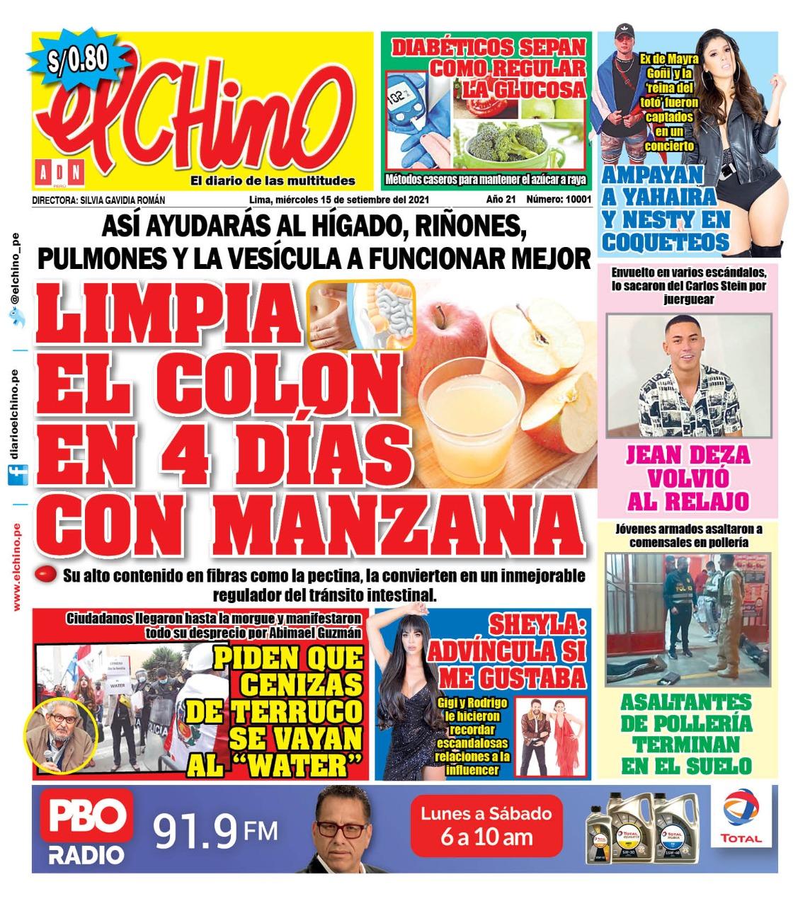 Portada impresa – Diario El Chino (15/09/2021)