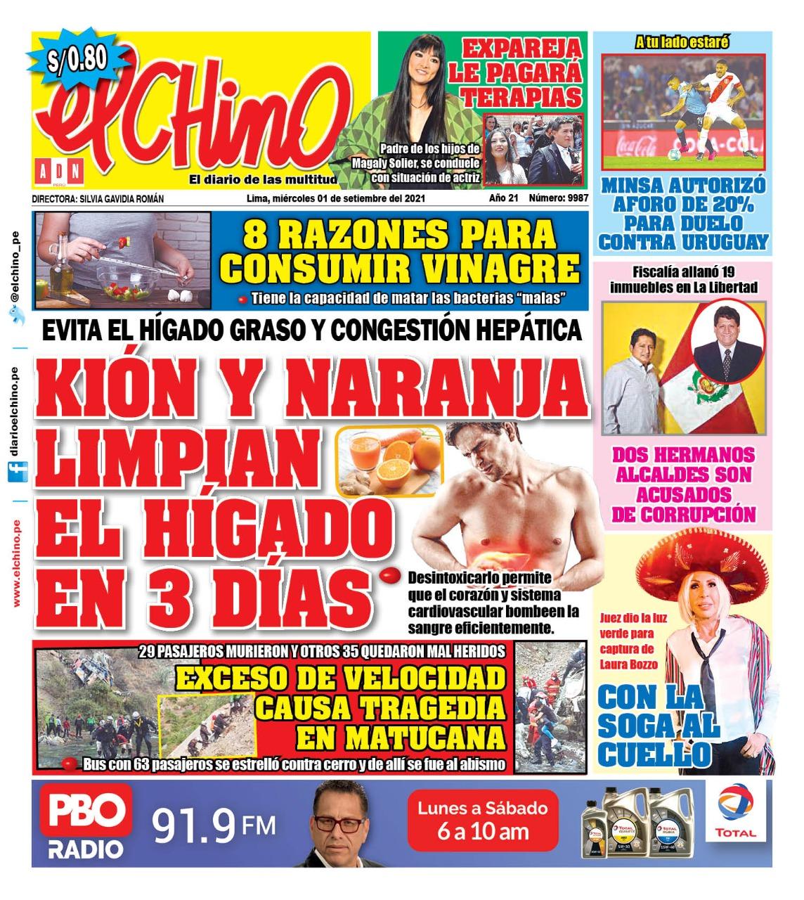 Portada impresa – Diario El Chino (01/09/2021)