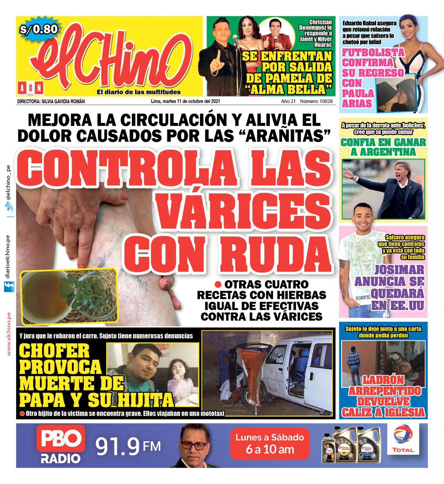 Portada impresa – Diario El Chino (12/10/2021)